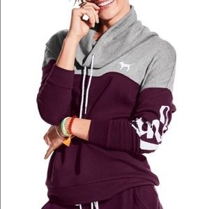 PINK VS Maroon & Grey Cowl Sweatshirt